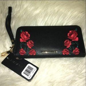 Rampage Phone Wallet Black/Red Roses NEW!